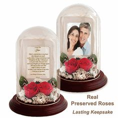 Why send flowers? Now you can send real preserved flowers that will become a treasured keepsake. This beautiful preserved Real Rose dome with love poem is a romantic way to tell someone special how much you love them.