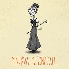 Tim Burton style Harry Potter characters: Minerva Mcgonagall