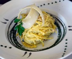 Spaghetti alla carbonara prepared tableside with homemade spaghetti with eggs, pancetta and parmigiano reggiano at Sicilia Mia in Millcreek. (Al Hartmann  |  The Salt Lake Tribune)