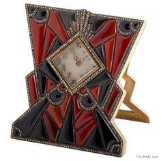 Art Deco clock, bronze & silver w/ onyx, carnelian & marcasite, German, 1920s