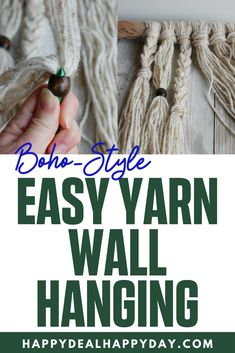 Simple Yarn Wall Hanging Tutorial - learn how to make a boho style wall hanging with driftwood, yarn and wooden beads! Diy Home Decor Projects, Cool Diy Projects, Home Crafts, Thrift Store Furniture, How To Make Paper Flowers, Yarn Wall Hanging, Diy Apartment Decor, Repurposed Items, Fall Diy