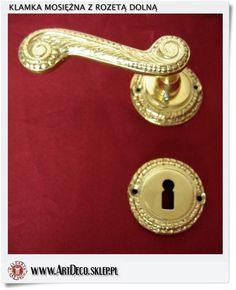 Mosiężne klamki z rozetą na klucz zwykły Duża perła złota