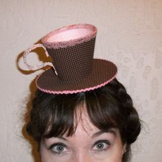 Teacup Fascinator Brown and Pink by RoyalHouseOfWhimsy on Etsy, $32.00