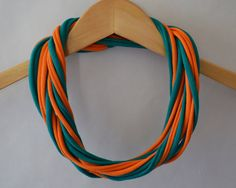 T shirt scarf in teal and orange