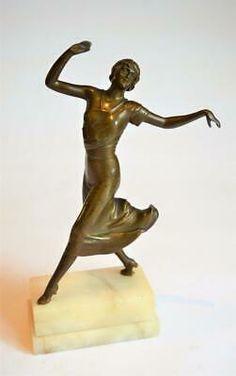 Large ceramic sculpture depicting a dancer on a chair ART NOUVEAU