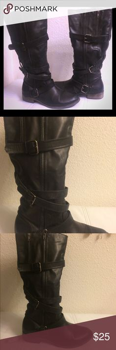 "💋Bamboo ""Augusta"" Strappy Black Biker Boot Knee high black biker boot features : triple buckle straps, a high rising shaft, rubber outsole,  a 1"" heel, a 15.5"" shaft, a 15"" circumference opening...and they are in great condition with lots of life left in them! Bamboo Shoes Combat & Moto Boots"