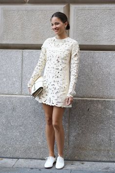 Pin for Later: #TBT: See All the Best Street Style From NYFW Last Season NYFW Street Style Day 4 Maria Duenas Jacobs perfected the boy-meets-girl look in a lacy white dress and brogues.