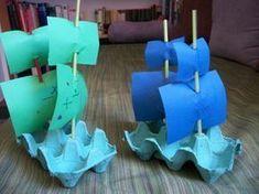 bricolage avec carton d'oeufs, faire des bateaux avec des boîtes Projects For Kids, Diy For Kids, Crafts For Kids, Arts And Crafts, Diy Projects, Dementia Activities, Activities For Kids, Transportation Crafts, Toy Craft