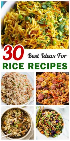 Loving rice for meal? Having rice as a staple food? These questions will be solved here. This article introduces 30 best ever rice recipes to make at any time of the year. They are all delicious mix of rice and a wide range Mixed Rice Recipe, Best Rice Recipe, Rice And Beans Recipe, Easy Rice Recipes, Whole Food Recipes, Dinner Recipes, Cooking Recipes, Healthy Recipes, Recipe 21