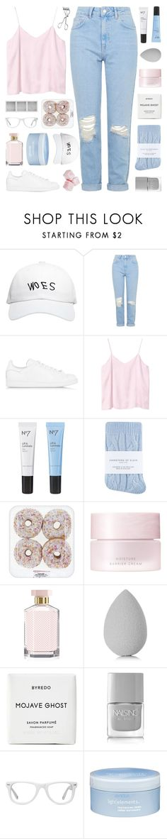 """new account ??"" by enchantedmist ❤ liked on Polyvore featuring October's Very Own, Topshop, adidas Originals, Monki, Boots No7, Johnstons, SUQQU, STELLA McCARTNEY, beautyblender and Byredo"