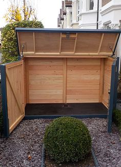 Construct so foundation in yard fastens same location as truck bed. Trash Can Storage Outdoor, Outdoor Trash Cans, Backyard Storage, Backyard Sheds, Garbage Storage, Bin Storage, Bicycle Storage Shed, Storage Shed Plans, Motorbike Storage