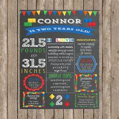 Lego Birthday Sign - Printable Chalkboard Lego Birthday Poster - Boy Birthday- Digital Print - DIY Printable