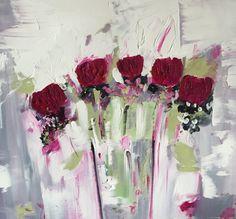 Petali di rosa olio su tela di PaintingsbySamanthaM su Etsy