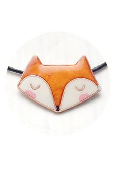 Fox necklace orange polymer clay fox pendant with by CloverPower