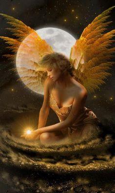 A fairy enjoying the moonlight ~ Fantasy Photo ~ Fairy Dust, Fairy Land, Fairy Tales, Angels Among Us, Angels And Demons, 3d Fantasy, Fantasy World, Fantasy Fairies, Halloween Imagem