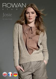 Josie Deep V-Neck Jumper in Rowan Fine Tweed
