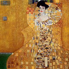 Portrait of Adele Bloch-Bauer by Gustav Klimt. I love Klimt! Gustav Klimt, Gustav Mahler, Art Nouveau, Most Expensive Painting, Art Amour, Lascaux, Art Carte, Oil Painting Reproductions, Picasso