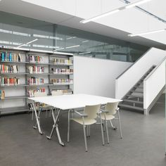 Font de La Mina Library, in Sant Adrià del Besòs (Barcelona, Spain). A project by Soldevilla Architects with our Bio #chairs and Folio #tables.  #libraries #contract #design #collectivities #teaching #furniture #seatings