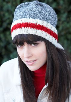 The classic marl-and-stripes look makes for a cozy hat with a subtle splash of color in Patons Classic Wool Worsted.