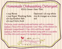 Homemade Dishwashing Detergent with Free Printable Label