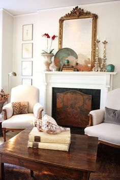 Chairs & fireplace