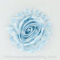 Ribbon And Bows Oh My! Blue <3 17 colors of #chevron Shabby Chiffon Flowers! #chiffonflower #shabbychic