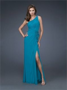 Column One Shoulder with Flower and Slit Long Prom Dress PD10976