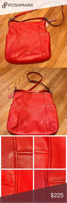 Coach Hobo Bag Authentic Coach leather hobo bag & matching wallet. Lovely orange in color and in fantastic shape. No makeup or ink stains; there is some slight staining on the inside pocket near the zipper. (See pic.) 2 straps; can be used as a cross body. Long strap is detachable. Wallet has no stains and has 14 card slots with a zipper pocket inside to hold coins. These are a great addition to your Coach collection! Coach Bags Hobos
