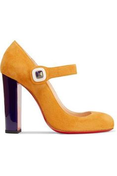 Heel measures approximately 4 inches Saffron suede Slip on Designer color: Full Moon/ Electro Made in Italy Christian Louboutin Heels, Louboutin Shoes, Maria Black, Yellow Shoes, Mary Jane Pumps, Men's Grooming, Black Rings, Victoria Beckham, Designer Shoes
