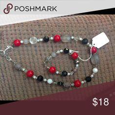 Necklace and bracelet set Black and red necklace bracelet set Jewelry Necklaces