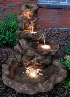 Sunnydaze Lighted Stone Springs Outdoor Fountain   Water Fountains