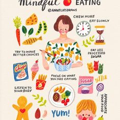 Mindful Eating 🍴Finally a new illustration yay 😊 I'm not perfect but I try to make better choices everyday. Of course sometimes I have junk…