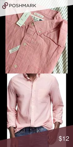 Old Navy Regular-Fit classic shirt Color- Apple Guava, Materials & Care 100% cotton. Machine wash. Imported.  Product Details Pointed, button-down collar. Seven-button placket. Patch pocket at chest. Long sleeves, with single-button cuffs and sleeve plackets. Shirttail hem. Soft cotton poplin. Pre-washed twice for double the softness. ❤️Love to hear more questions❎No trades pls☺️ Old Navy Shirts Dress Shirts