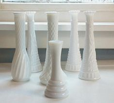 Vintage Milk Glass Vases Vintage Milk Glass by RhymeswithDaughter