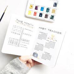 Bullet journal monthly layout, vertical calendar, monthly habit tracker. @northernplanner