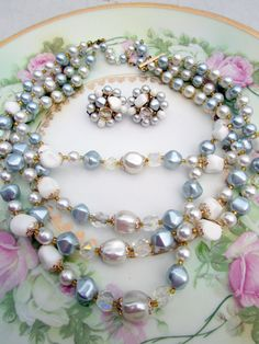 Vintage Multi Strand Beaded Necklace with by Holliezhobbiez, $18.50