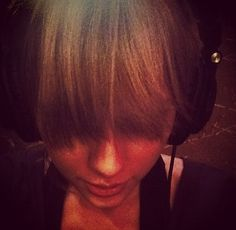 "Instagram: ""While in the studio I came to the realization that my bangs are long enough to use as a sleep mask on long flights. Then I remembered I don't ever use sleep masks on flights. So really, I just need a haircut."" -Taylor"
