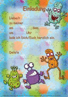 Einladungsset MONSTER In DIN Vom Döll Verlag // // 12 Einladungen Und 12  Umschläge Für Kindergeburtstag // Kinder Geburtstag Einladungskarten  Einladung ...