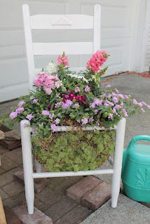 By Shabby French Country Cottage Basement. I made this chair planter in the spring of 2012.