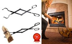 Long fireplace Tongs Log Grabber Tool BBQ Grill Camping Fire Wood Pits Black for sale online Barbecue Grill, Fire Pit Tools, Camping Fire Pit, Bbq Tongs, Fireplace Logs, Firewood, Cool Things To Buy, Fire Pits, Ebay