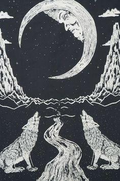 Tenture carte tarot Lune