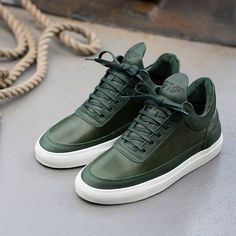 Fancy - Green Low Top Scotch Grain Sneakers by Filling Pieces