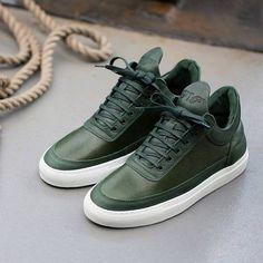 Fancy - Green Low Top Scotch Grain Sneakers by Filling Pieces