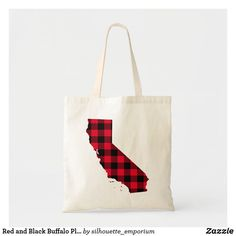 Red and Black Buffalo Plaid California Map Shape Tote Bag