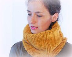 Chunky scarf mustard winter cowl knitted by SexyCrochetByOlga