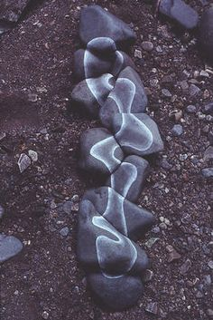 Andy Goldsworthy, River stones scratched white made in dried-up bed of Swindale Beck after a long hot summer, 1983.