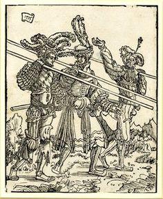 Three Lansquenets; carrying lances, walking to r.  1515 Woodcut