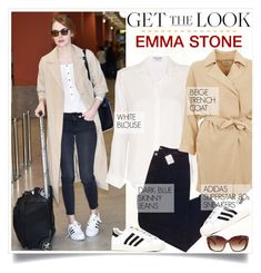 """""""GET THE LOOK: Emma Stone."""" by fairouze ❤ liked on Polyvore featuring Frame Denim, Urban Outfitters, American Vintage and adidas"""