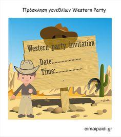 Είμαι παιδί: Παιδικό πάρτι Western Άγρια Δύση-all free printables