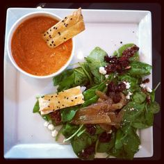 Tomato Bisque soup and Candied Pecan Spinach salad with goat cheese and cherries; champagne vinaigrette